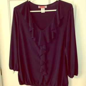 Navy Blouse with ruffles